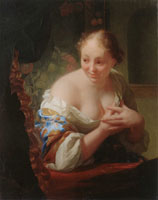 Godfried Schalcken Young Woman in Front of a Mirror