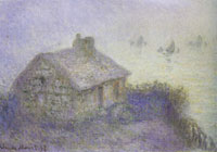 Claude Monet - Coastguards Station in the Fog (Blue Effect)