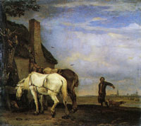 Paulus Potter Two Carts in front of a Thatched Cottage