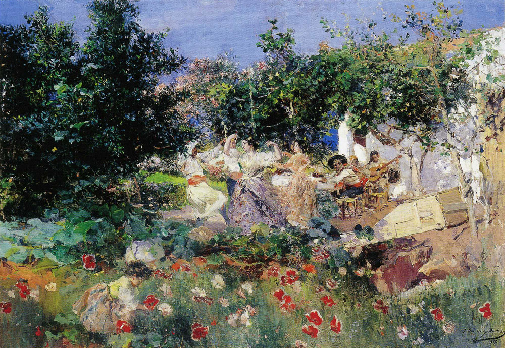 Joaquin Sorolla y Bastida - Valencian dance on the garden