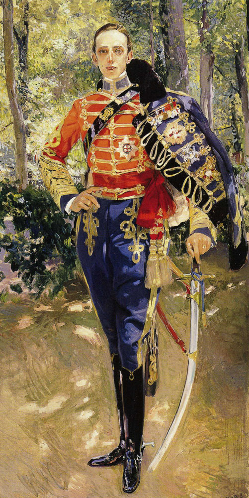 Joaquin Sorolla y Bastida - Portrait of King Don Alfonso XIII in his Uniform at Húsares