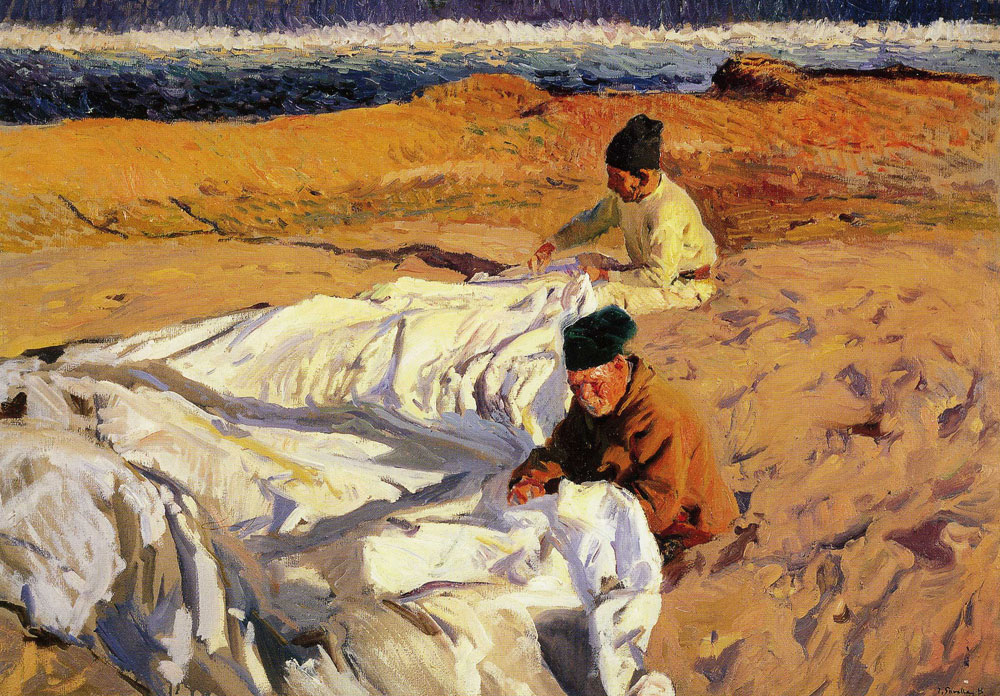 Joaquin Sorolla y Bastida - Sewing the Sail