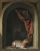 Gerard Dou - Cat Crouching on the Ledge of an Artist's Atelier