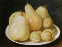 Jean-Etienne Liotard Still-life: Pears, an Apple, Plums and Walnuts on a Plate