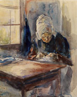 Max Liebermann Dutch Woman Doing Home Work