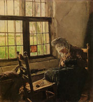 Max Liebermann - Old Woman Sewing at the Window