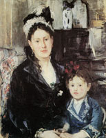 Berthe Morisot Portrait of Mme Boursier and her Daughter