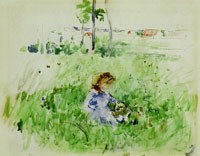 Berthe Morisot Little girl seated on the lawn