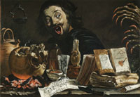 Pieter van Laer Self-Portrait with Magic Scene