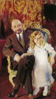 Joaquin Sorolla y Bastida Portrait of Carlos Urcola Ibarra and his daughter