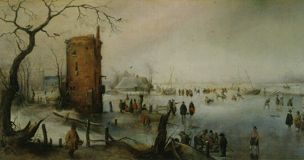 Hendrick Avercamp - Winter Landscape with Skaters near a Town