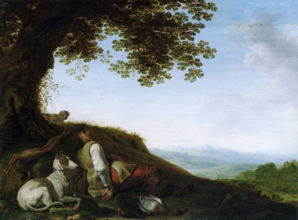 Cornelis and Herman Saftleven - Sleeping Hunter in a Landscape