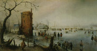 Hendrick Avercamp Winter Landscape with Skaters near a Town