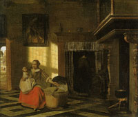Pieter de Hooch Mother and Child by a Cradle