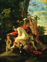 Nicolas Poussin - Nymph, Satyr, Faun and Cupids