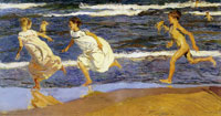 Joaquin Sorolla y Bastida Running along the Beach