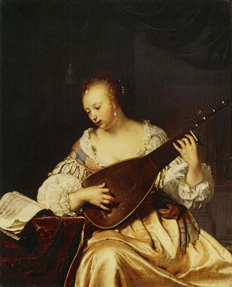 Frans van Mieris the Elder - Woman Playing the Theorbo