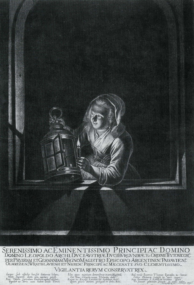 Johan Thomas van Yperen after Gerard Dou - Girl at a Window with a Lantern