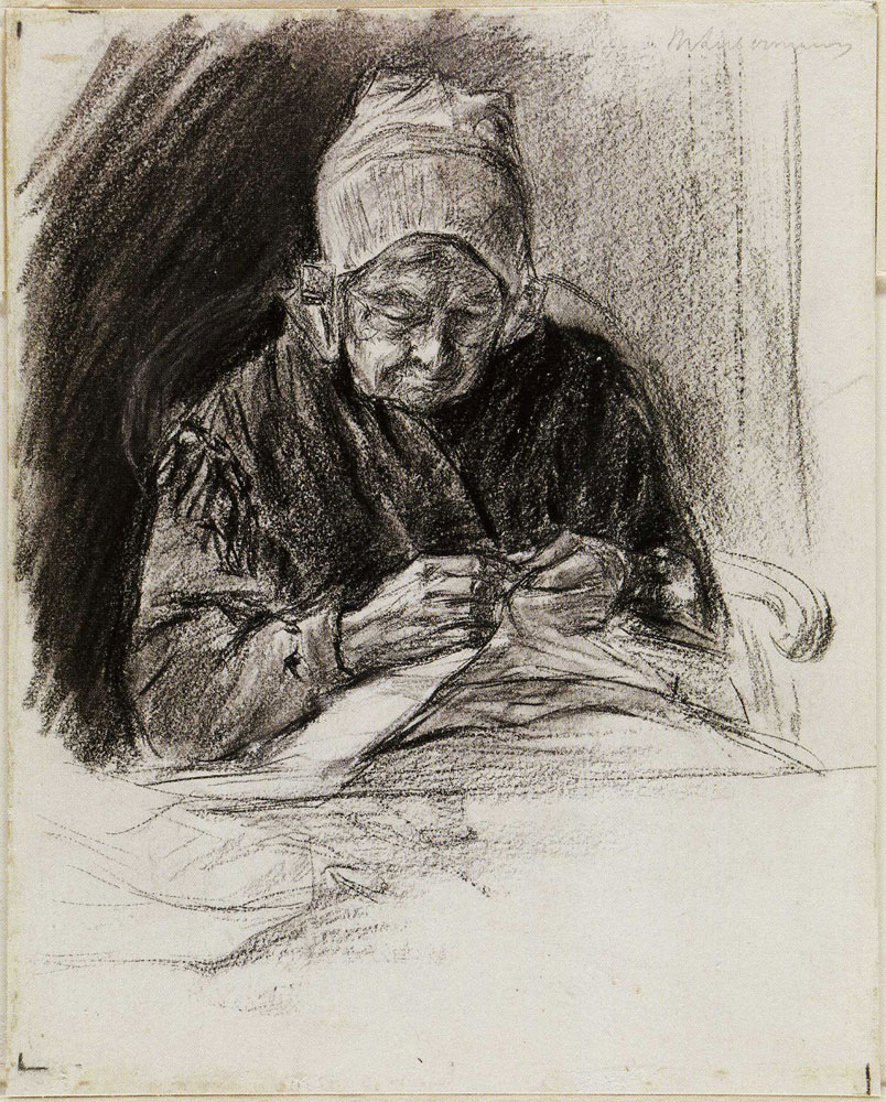 Max Liebermann - Dutch Woman Sewing