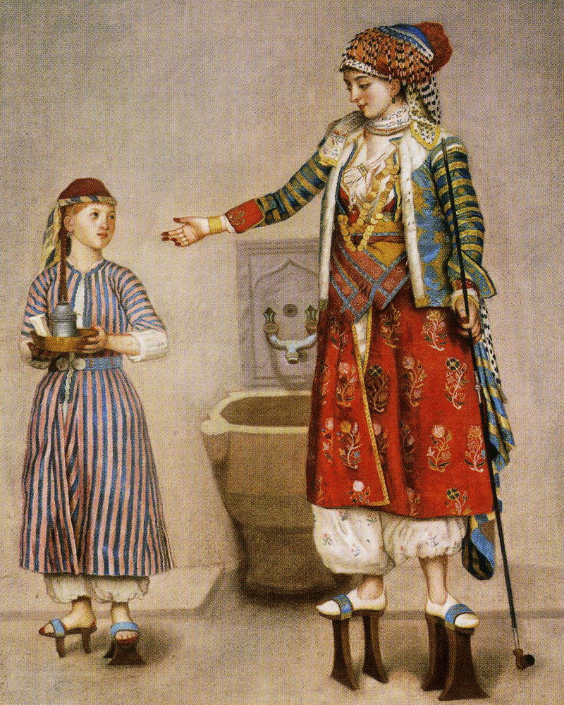 Jean-Etienne Liotard - A Lady in Turkish Costume with Her Servant at the Hammam