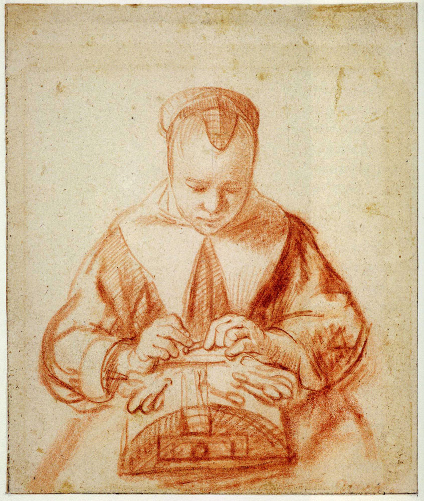 Nicolaes Maes - Seated Woman Making Lace