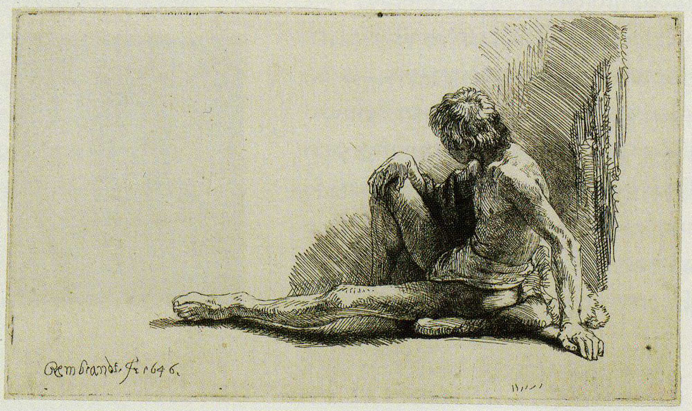 Rembrandt - Drawing Model with a Young Man Seated