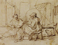 Anonymous pupil aftter an unknown original by Rembrandt Tobit Reading the Bible to Anna