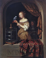 Caspar Netscher - Lady with a Parrot