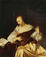Frans van Mieris the Elder Woman Playing the Theorbo