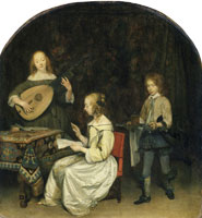 Gerard ter Borch Two Young Musicians Served by a Page
