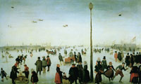 Hendrick Avercamp Winter Landscape with a Frozen River and Figures