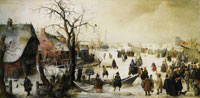 Hendrick Avercamp Winter Landscape with a Frozen Watercourse
