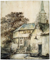 Isaac van Ostade - Group of Houses with a Church Tower in the Background