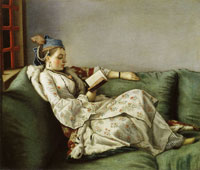 Jean-Etienne Liotard Woman on a Sofa Reading