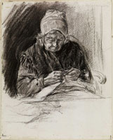 Max Liebermann Dutch Woman Sewing