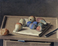 Jean-Etienne Liotard Still-life Pears, Figs, Plums, Bread Roll and Knife on a Table