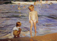 Joaquin Sorolla y Bastida Children Taking a Bath. Afternoon Sun