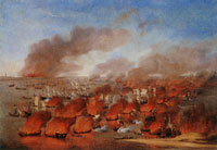 Willem van de Velde the Elder 'Holmes's Bonfire', the burning of Dutch Merchant Ships between Terschelling and Vlieland, 19th August 1666