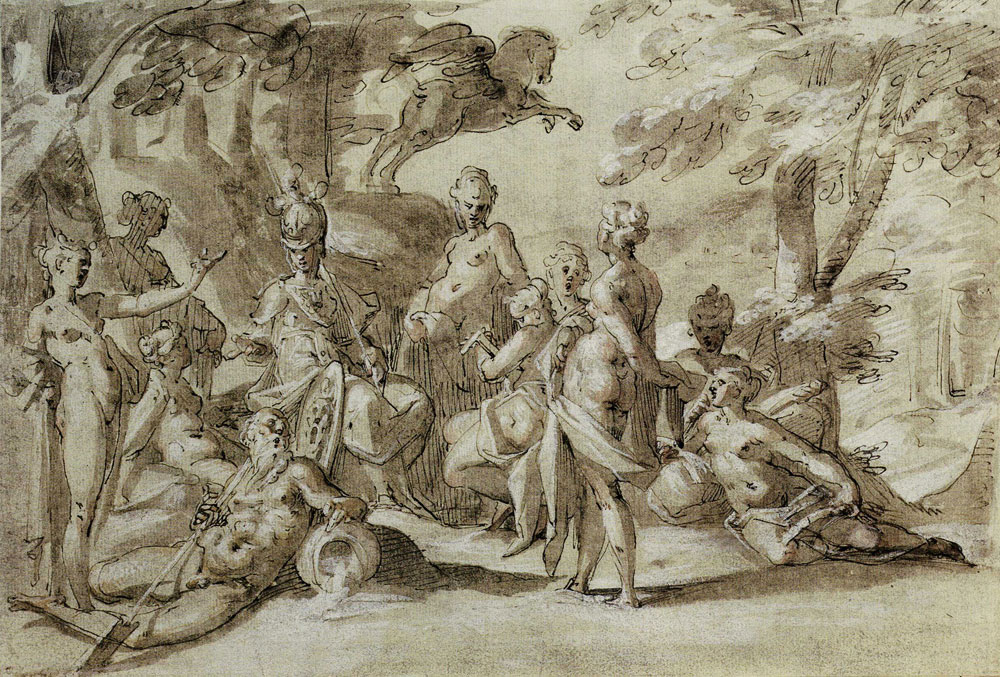 Bartholomeus Spranger - Minerva with the Muses and Pegasus
