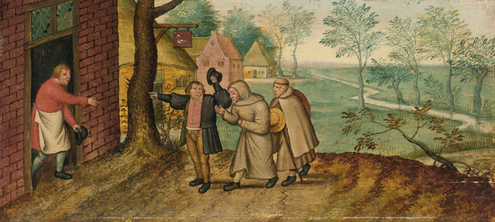 Pieter Brueghel the Younger - Two Monks in front of an Inn