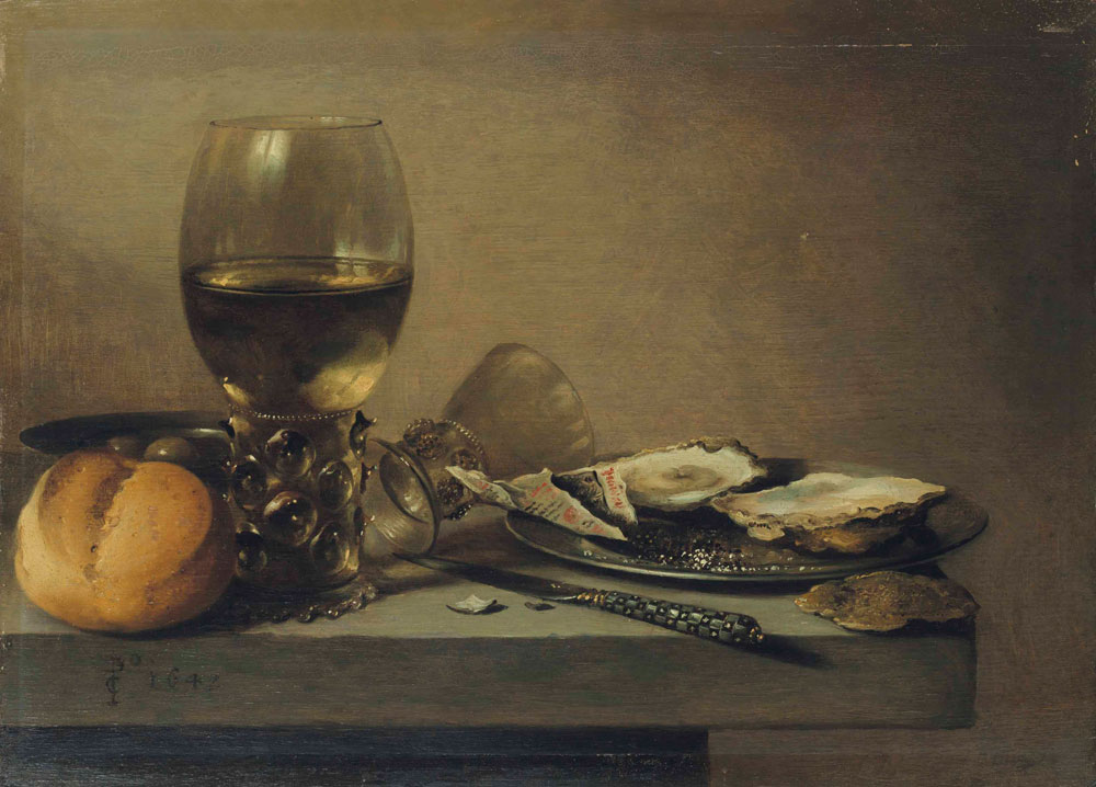 Pieter Claesz. - Two roemers, a roll, a plate of olives, a knife, and tobacco and oysters on a pewter dish atop a table