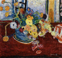 Pierre Bonnard Flowers on a Red Carpet