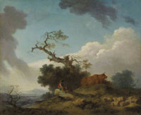 Jean-Honoré Fragonard - A shepherd and herdsman seated on a rock with cows and sheep