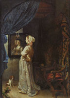 Frans van Mieris the Elder Lady in Front of a Mirror