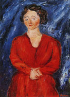 Chaim Soutine - Woman in Red on Blue Ground
