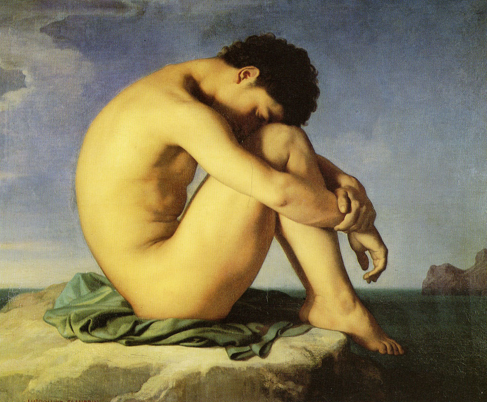 Hippolyte Flandrin - Young Man Sitting by the Sea