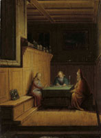 Christoffel van den Berghe A candlelit interior with Christ, Saint John the Evangelist and Nicodemus seated at a table