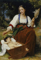 William-Adolphe Bouguereau - Lullaby (Italian Girl Spinning)