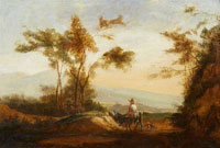 Willem de Heusch Southern Landscape with Shepherds