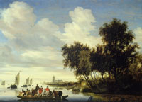 Salomon van Ruysdael River Landscape with Riders on a Ferry